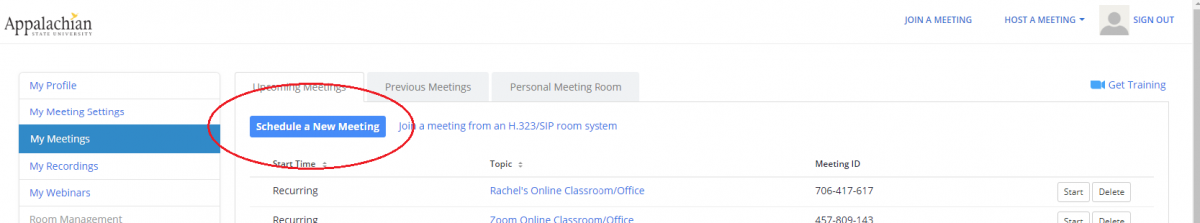 schedule a new meeting in zoom