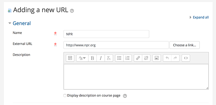 screen shot of adding a new url form