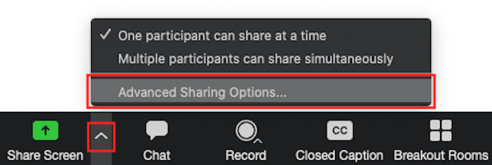advanced screen sharing options menu