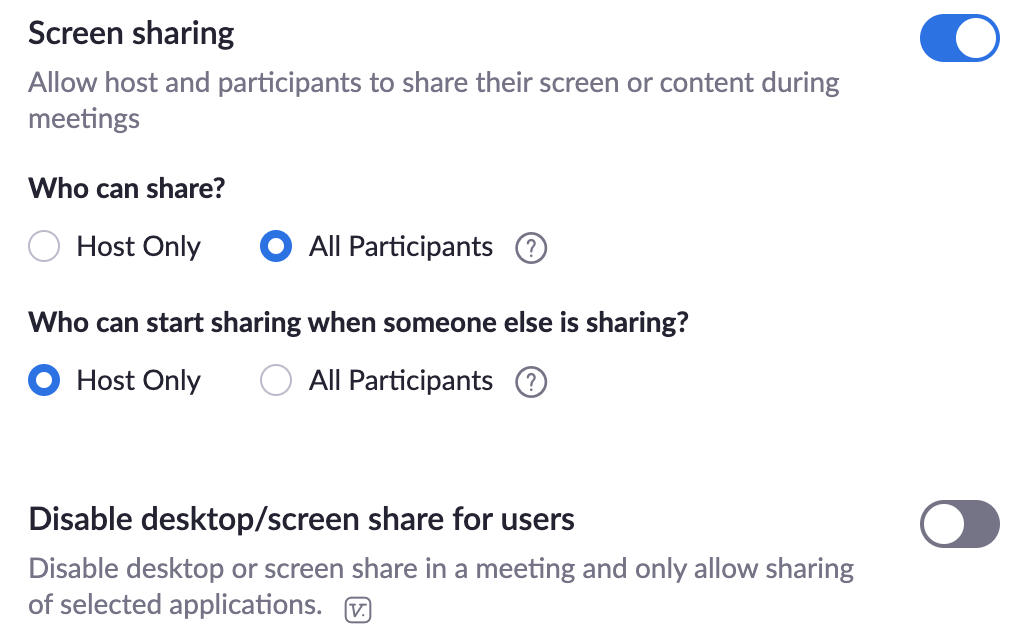 screen sharing settings