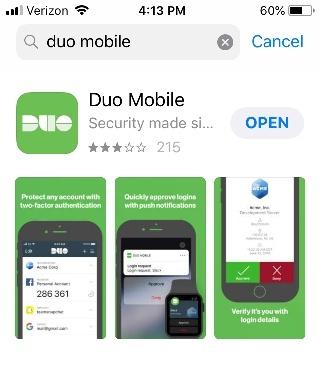 Duo Mobile App screen image
